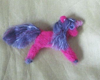 Felted brooch my little pony, animal felted brooch pony, woolen brooch unicorn, woolen pink unicorn brooch , brooch pink pony, felted pony