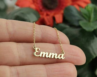 14k Solid Gold-Name Necklace-Personalized Necklace-Gold Jewelry-Gold Necklace-14k Gold Necklace-Name Jewelry-Personalized Mother's Day Gift