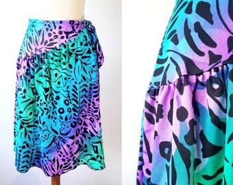 Vintage Animal Print Wrap Skirt 80s Purple Green Blue Beach Wrap Stretch Fabric Abstract Cheetah Print Disco Glam Punk Boho Festival Sz M