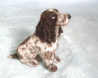 Needle Felted Dog / Handmade Custom Pet Portrait of your Pet / Poseable example English Cocker Spaniel