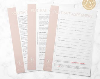 Portrait Contract Template - Photography Form - Photographer Business Form - 8.5x11 Photoshop Template - Photo Agreement - Business Form