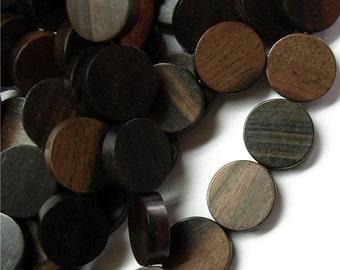 Wood Bead, Coin 15mm, Tiger Ebony - Three 16 Inch Strands (WDCN-15TE)