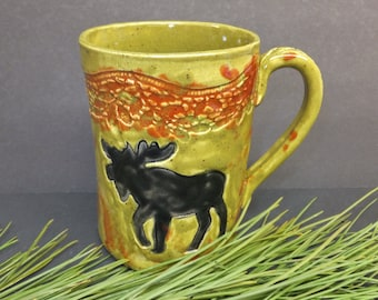 Moose Ceramic Coffee Mug, Extra Large Pottery Mug