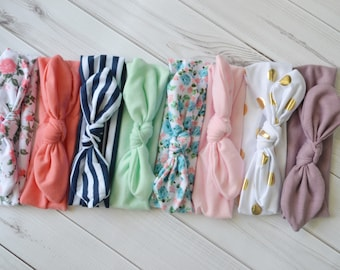 Pick 12 Knotted Baby Headbands, Stretch Jersey knit headbands, baby headband, headband set, newborn headbands, infant headband, hair bow