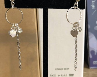 heart hoop dangle earrings