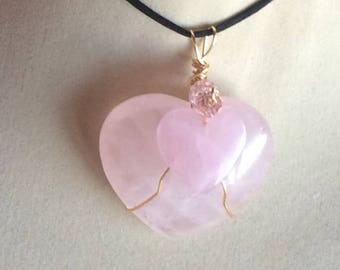 Rose Quartz Double Heart Valentine Pendant Wire Wrapped Necklace Jewelry