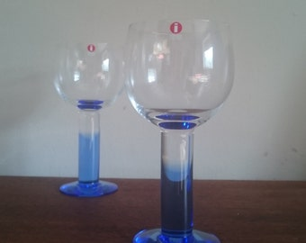 BOXED Pair Set of 2 Vintage IITTALA Mondo White Wine Glasses Blue and Clear by Kerttu Nurminen NEW Condition in Original Box