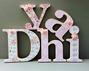 shabby chic letters~wooden free standing letters~wall hanging letters~nursery room decor~baby shower letters~vintage rose design~decorated