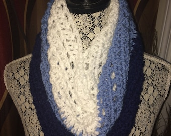 Crochet Cowl - Dark Blue, Light Blue, White