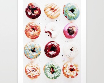 Donut Print Watercolor Doughnut Print Donut watercolor painting 8x10 art print cute dessert watercolor art donut art donut gifts for her