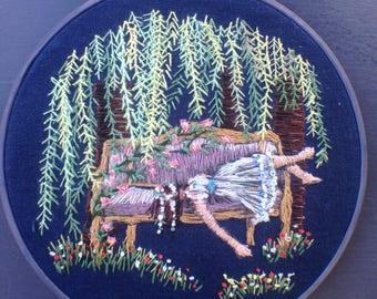Hand Embroidery 'Sleeping Beauty' Fairy Tale Illustration Hoop Art