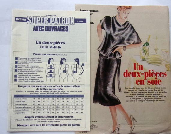 SEWING pattern PRIMA 12/84 two PIECES of silk for women