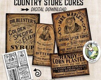 Vintage Medicine Apothecary Labels Prim Primitive Digital Download Printable Tags Scrapbook Fabric Transfer Graphics Sheet Clip Art Images