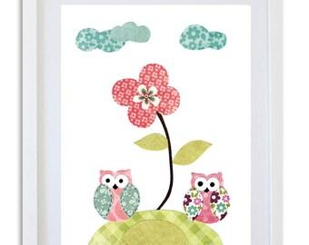 Nursery Art, Nursery decor, Owl art print, kids room art, wall art, baby nursery -  2 little owls