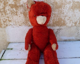 Vintage 1950/50s French red Mohair & straw teddy bear