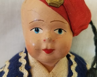 "Greece Greek Grecian 9"" International COMPOSITION HEAD Stockinette Cloth Body Ethnic Greece Greek Souvenir Doll"