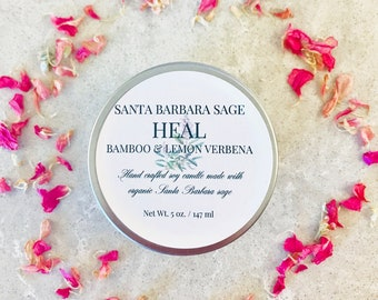 Bamboo & Lemon Verbena 5oz. Soy Candle by Santa Barbara Aromatics | Gift for Her | Gift for Mom | Essential Oil Candles | Bridesmaid Gift