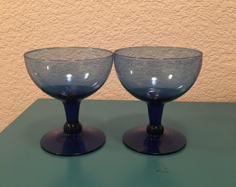 Set of 2 cobalt glass dessert bowls