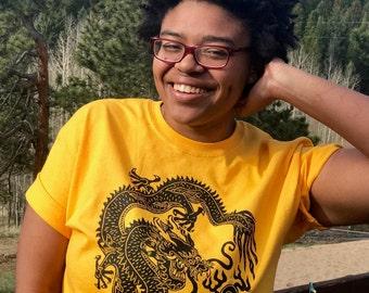 Dragon Shirt  in gold or burgundy, Dragon guarding pearl of wisdom, Dragons Dragon tshirt, FaithStoneArt wearable art love dragons art shirt