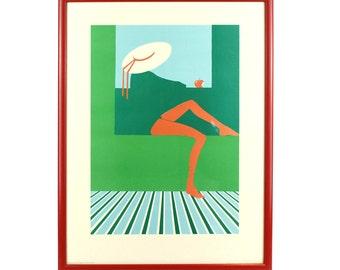Vintage 1980's Framed Print - Roda Strumpor/Red Stockings by Richard Akerman - FREE UK SHIPPING