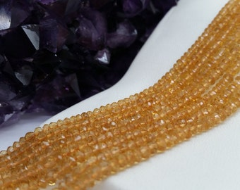 """Citrine Faceted Rondells AA Quality 3-4 mm, 13.5-14""""L"""