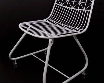 Modernist White Wire Cantilever Metal Chair on Casters