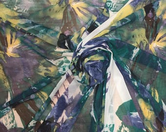 Printed Stretch Mesh | Green/Blue/Yellow Abstract Print Stretch Mesh | Dancewear