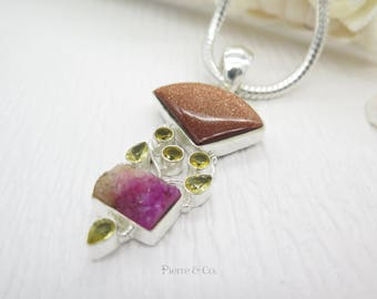Goldstone Citrine and Pink Drusy Sterling Silver Pendant and Chain