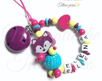 "personalized wooden pacifier ~ plum Fox ""Elena"""