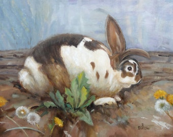 Bunny With Dandelions Original Art Rabbit Portrait French Country Farmhouse