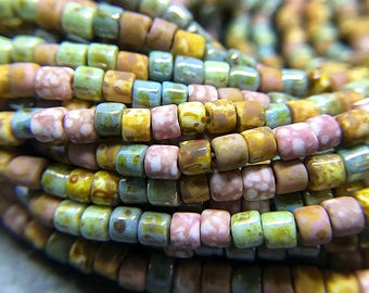 Pink Medley Picasso Seed Beads, Size 6/0 Seed Beads, Aged Picasso Beads, Czech Glass Seed Beads, 4-4.5mm - 1 strand (AP-07)