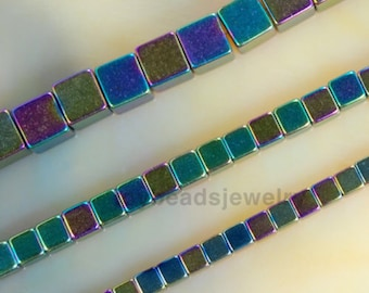 """16"""" Rainbow Hematite Beads Square Spacer Loose Beads For Jewelry Making DIY Jewelry Findings 2mm 3mm 4mm 6mm 8mm 10mm"""