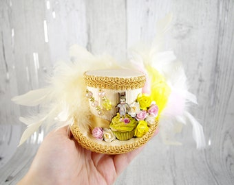 Gold, Cream, Yellow, and Pink Flower and Cupcake Cutout Small Mini Top Hat Fascinator, Alice in Wonderland, Mad Hatter Tea Party, Derby Hat
