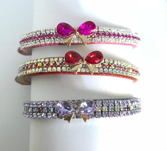 Bling Cutie Pie Pets Collars™ ~Mon Petite Bow Ruby Red, Lavender Purple, or Hot Pink Rhinestone Vegan Leather Dog or Cat Safety Collar USA