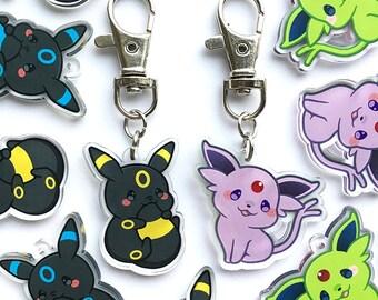 "Cute Chubby Umbreon Espeon Eeveelution Kawaii Fox Baby Animal Shiny 1.5"" Acrylic  Keychain Charm"