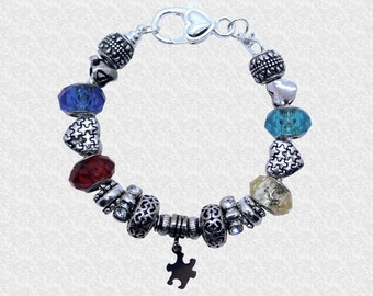 Autism Bracelet, Autism Jewelry, Autism Awareness Bracelet, Puzzle Piece Bracelet, Autism Mom, Valentine's Day Gift, Autism Teacher Gift