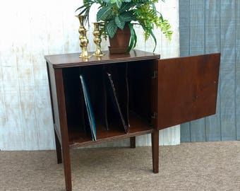 Midcentury Wooden Record Cabinet, Midcentury Music Cabinet, Vintage Vinyl  Storage, End Table,