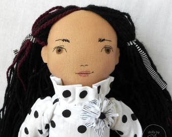 "READY TO SHIP - Isabella - 20"" Heirloom, One-of-a-kind, Fabric Doll - Black and White - Rag doll - Handmade - Fashion - Decor"