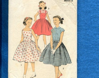 1950's Advance 7843 Girl's Bubble Skirt Dress Jumper & Skirt Size 8