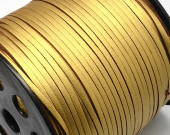 Gold 2 Sided Vegan Faux Leather Suede Flat Cord 3mm