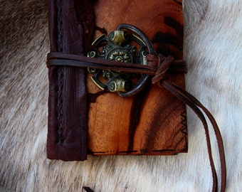 Hand made custom exotic wood leather bound journal book