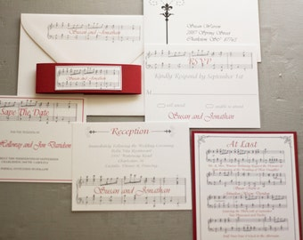 Vintage Style Romantic Music Notes Wedding Invitation by Forget Me Knot Paperie {SAMPLE}