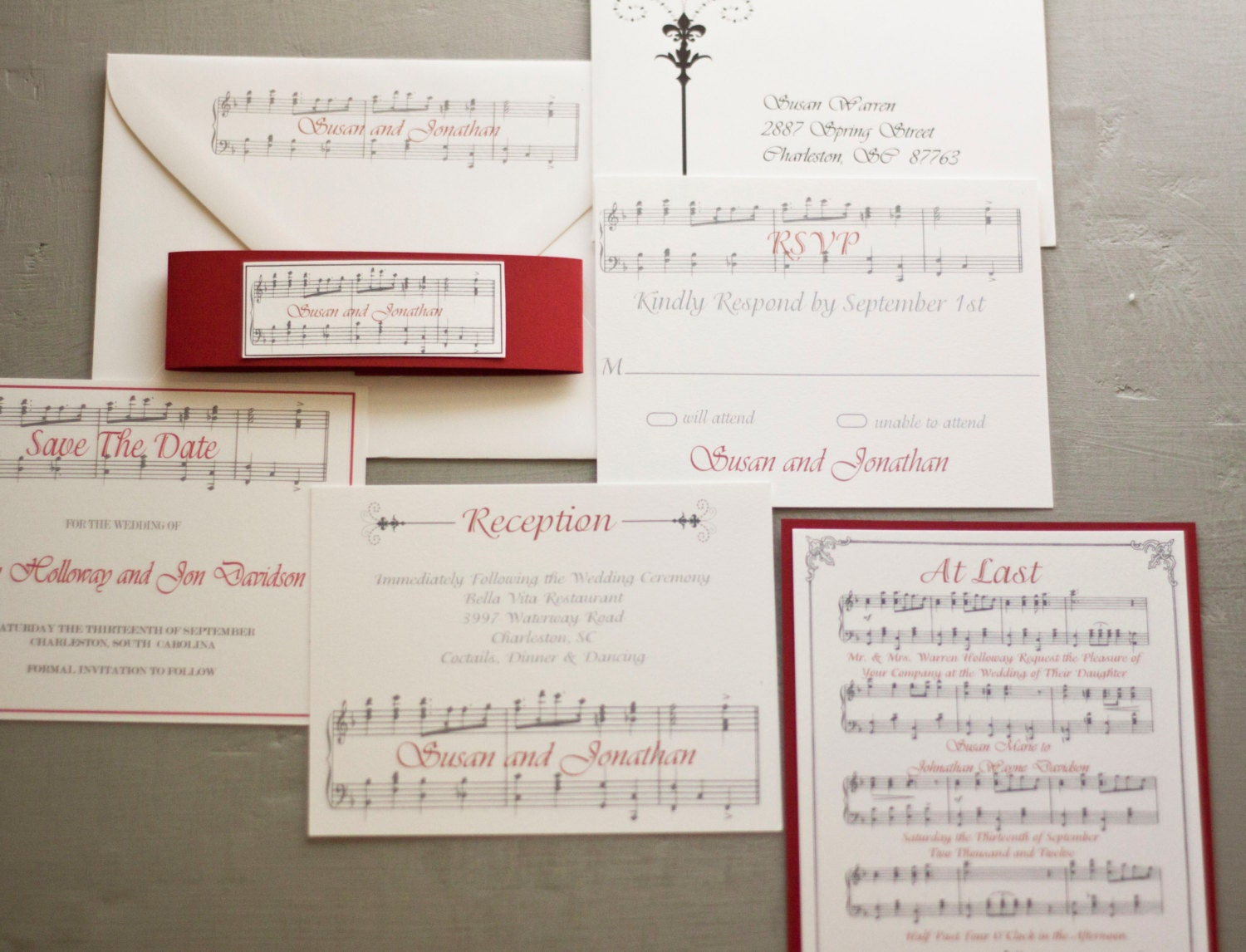 Invitation Note For Wedding: Vintage Style Romantic Music Notes Wedding Invitation By