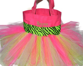 Easter Basket, Tutu Bag, Lime Green Zebra Ribbon with Monogram Name Embroidered on the Bag. Personalized Girl Dance Bag, Fairy Princess Bag