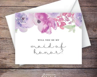Will You Be My Maid of Honor Card, Flowers, Instant Download Greeting Card, Will You Be My Bridesmaid, Wedding Card, Digital File – Sadie