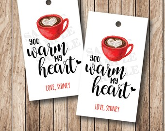10 You Warm My Heart Tags, Personalized Coffee Valentine Tags, Valentine Coffee Mug Tags . 2 x 3.5 inches