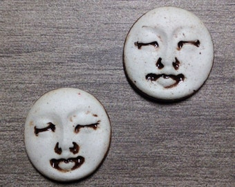 Pair of Two Medium Round Ceramic Face Stone Cabochons in Pewter and Bone White