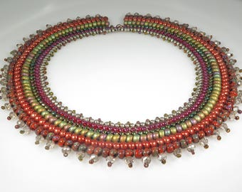 Cleopatra Necklace - Beading Tutorial - Seed bead and crystal rondelle necklace - Beading Pattern - Herringbone Tutorial Necklace PDF