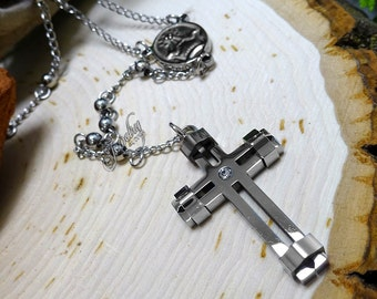 Silver CZ Cross Extra Long Rosary Stainless Steel Necklace