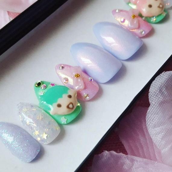 Clay Little Twin Stars Nail Set kawaii kawaii nails press